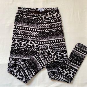 3/20$ Winter Printed Leggings Black Gray